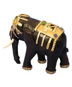 Gold Wooden Elephant Sculpture