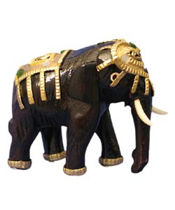 Gold Wooden Elephant Sculpture