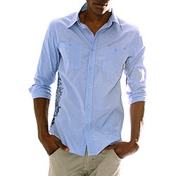 191 Unlimited Men's Blue Screen Print Detail Shirt