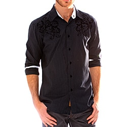 191 Unlimited Men's Black Embroidered Stripe Shirt
