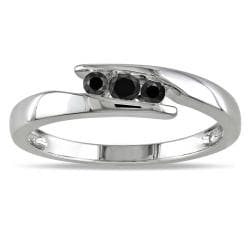 M by Miadora Sterling Silver 1/5ct TDW Black Diamond  Ring