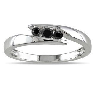 Haylee Jewels Sterling Silver 1/5ct TDW Black Diamond  Ring