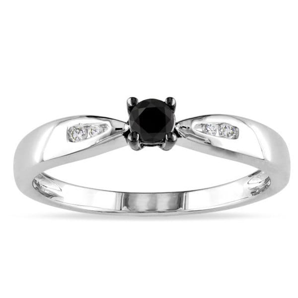 Miadora Sterling Silver 1/5ct TDW Black and White Diamond Ring