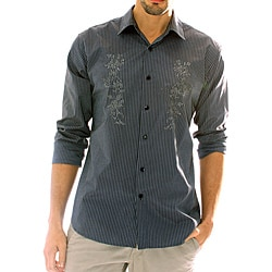 191 Unlimited Men's Black Stripe Embroidered Shirt