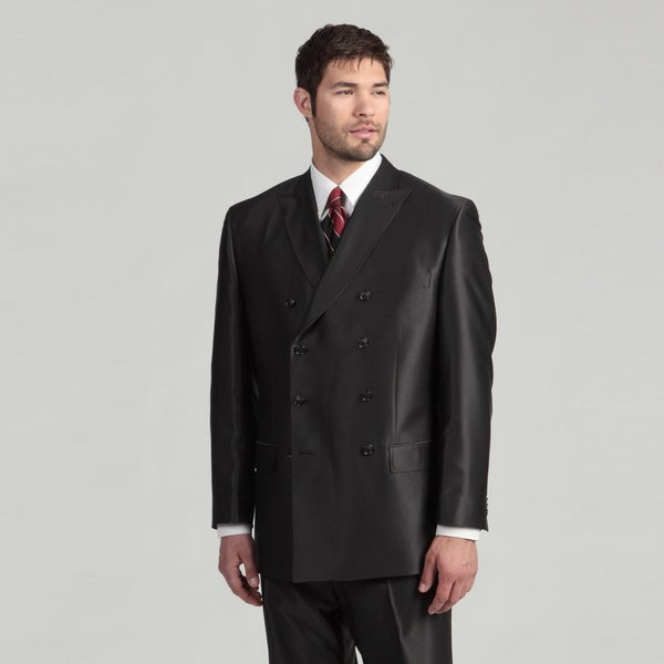 Sean John Men's Double-breasted Black blend Suit FINAL SALE