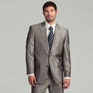 Sean John Men's 2-button Silver Herringbone Wool Blend Suit