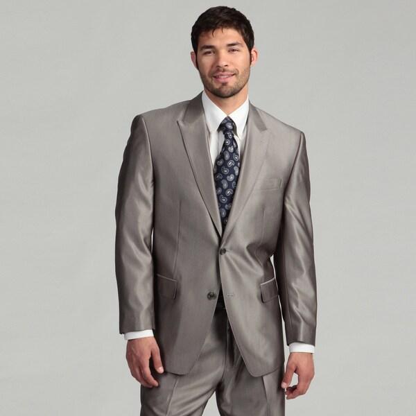 Sean John Men's 2-button Silver Herringbone Wool Blend Suit