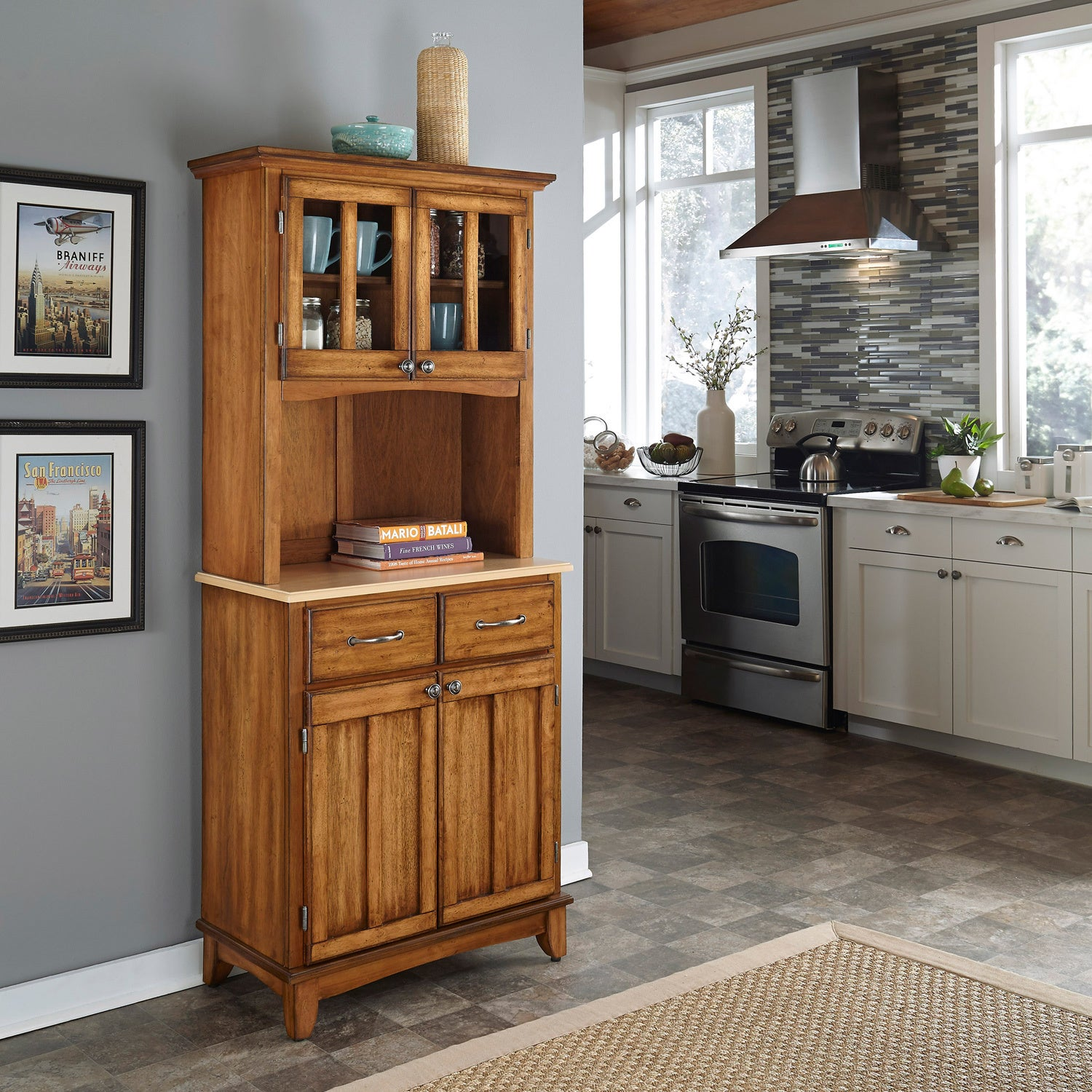Cottage Oak Hutch Buffet with Wood Top at Sears.com