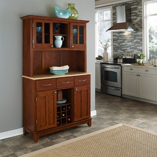 Medium-Cherry Hardwood Hutch Buffet with Wood Top