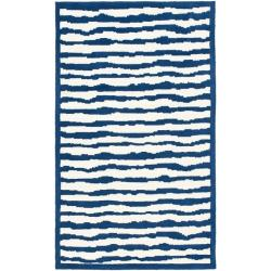 Handmade Children's Stripes Ivory/ Blue N. Z. Wool Rug (3' x 5')