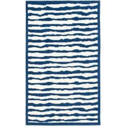 Safavieh Handmade Children's Stripes Ivory/ Blue N. Z. Wool Rug (3' x 5')