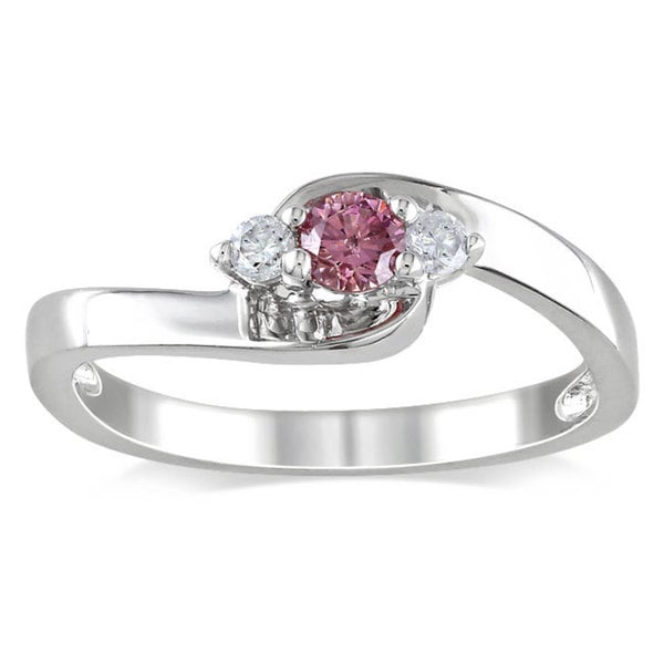 Haylee Jewels Sterling Silver 1/4ctTDW Pink Diamond Ring (G-H, I1-I2)