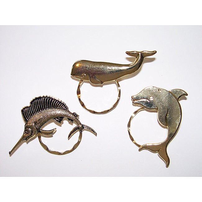 Detti Originals SPEC Sailfish/ Whale and Dolphin 3-piece Spectacle Brooch Set