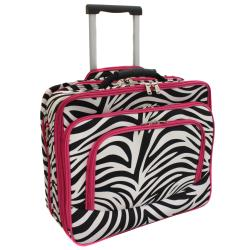 World Traveler Pink Zebra Print Polyester Rolling Laptop Tote