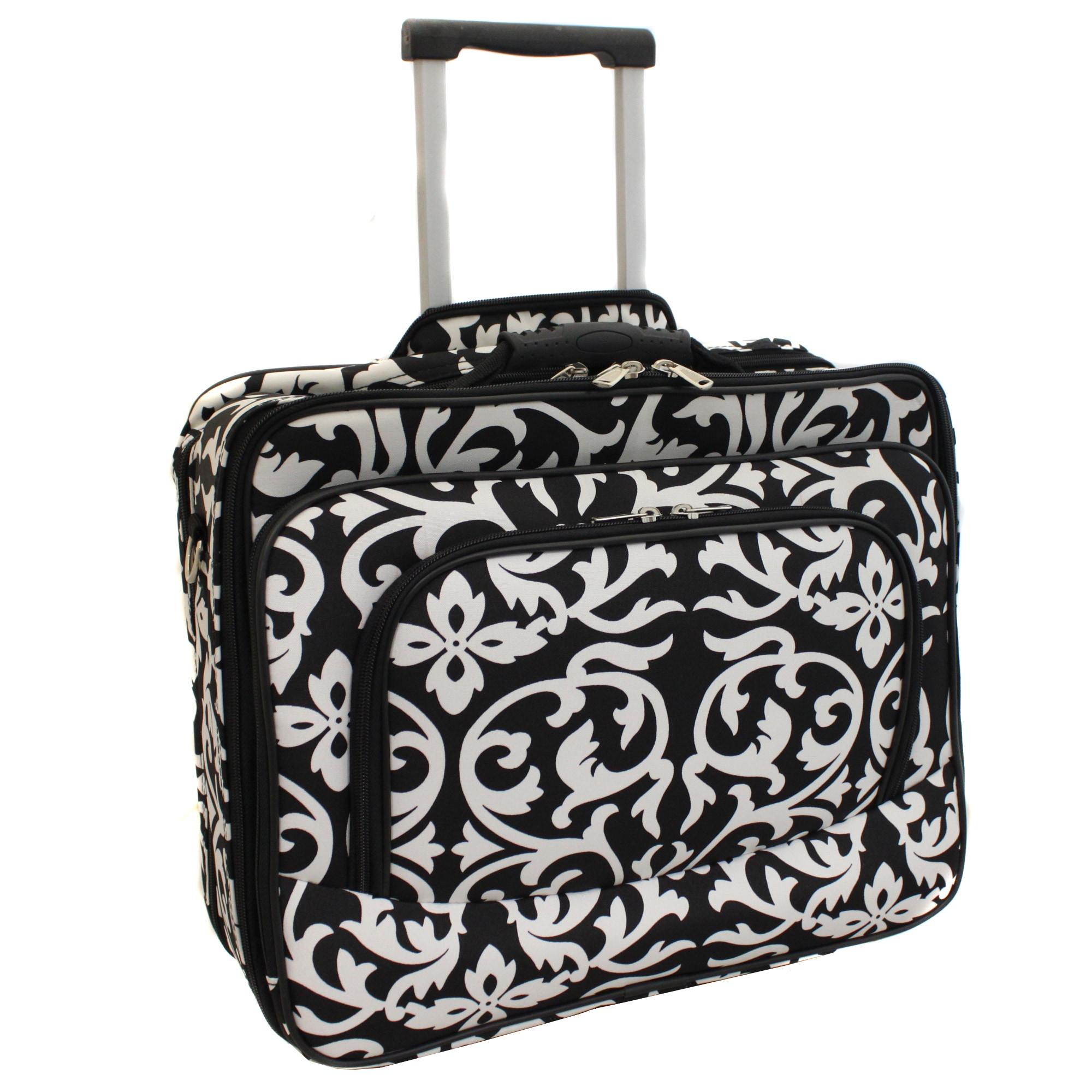 World Traveler Women's Damask Print Rolling Laptop Tote