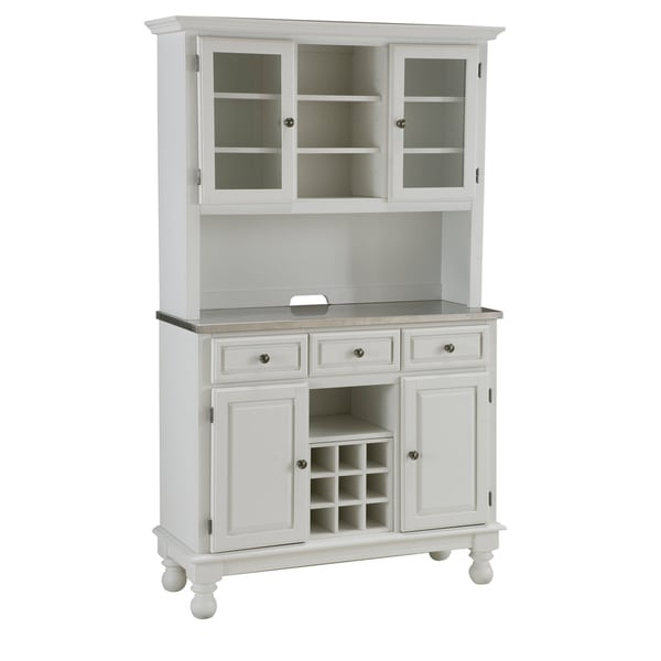 Premium White Hutch Buffet with Stainless Top
