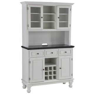 Premium White Buffet with Granite Top and Hutch