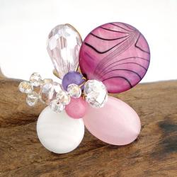 Pink Mother of Pearl, Agate and Quartz Cluster Ring (7-8 mm)(Thailand)