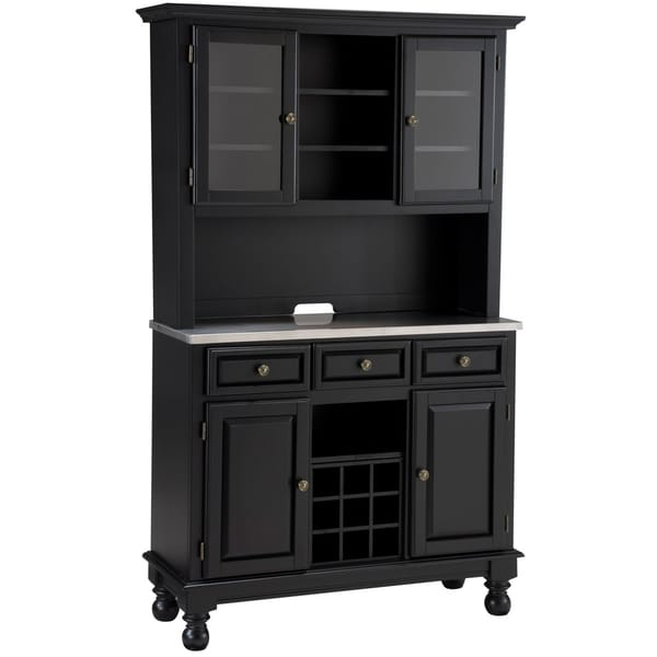 Premium Buffet with Stainless Top and Hutch