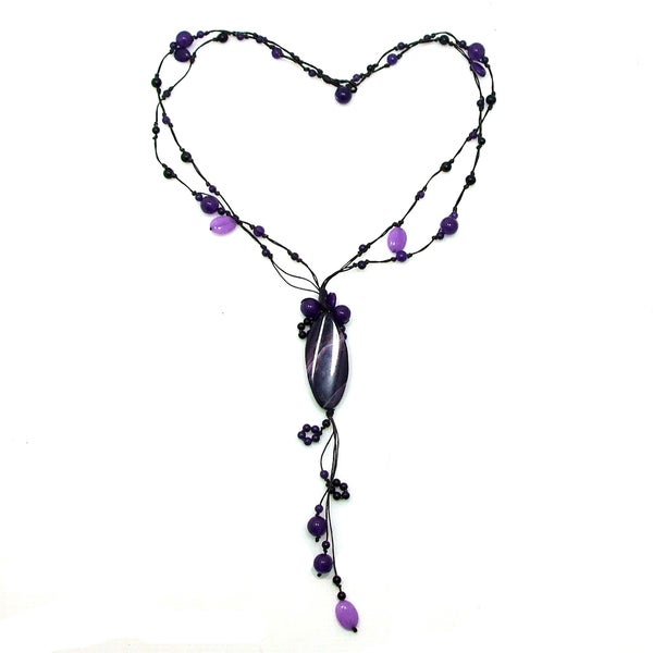 Purple Agate and Amethyst Cotton Rope Necklace (Thailand)
