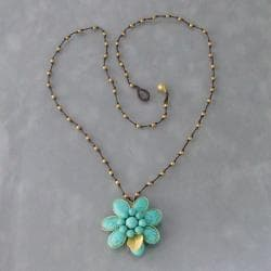 Brass Turquoise Cotton Rope Floral Necklace (Thailand)