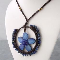 Blue Mother of Pearl and Lapis Floral Moon Cotton Rope Necklace (Thailand)