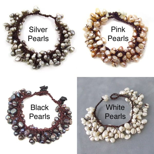 Round Freshwater Pearl Cluster Cotton Rope Bracelet (4-10 mm)Thailand)