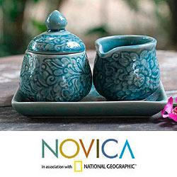 Set of 2 Ceramic 'Botanical Heaven' Sugar Bowl and Creamer (Thailand)