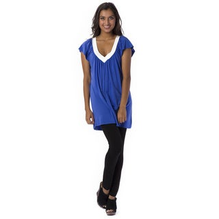 A to Z Blue Extra-long Short-Sleeved Tunic Top