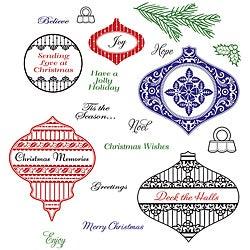JustRite Deck The Halls Stampers Cling Stamp Set
