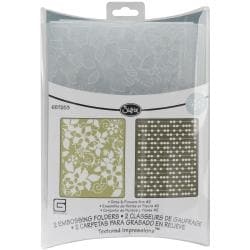 Sizzix Textured Figgy Pudding Dots/ Flowers Impressions Embossing Folders