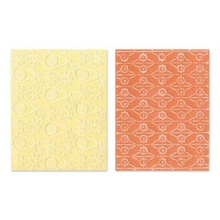 Sizzix Textured Figgy Pudding Flowers/ Pears Impressions Embossing Folders