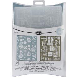 Sizzix Textured Impressions 'Figgy Pudding Ornaments Gifts/Snowflakes' Embossing Folders