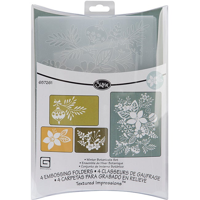 Basic Grey Sizzix Figgy Pudding Winter Botanicals Textured Impressions Embossing Folders (Pack of 4)