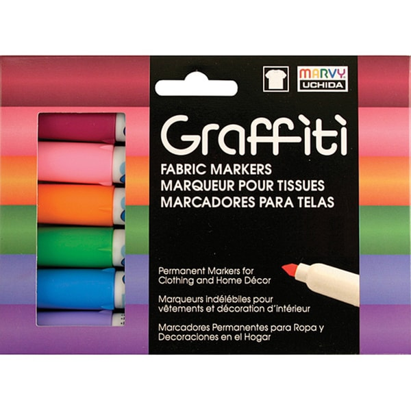 Floral Graffiti Fabric Marker (Pack of 6)