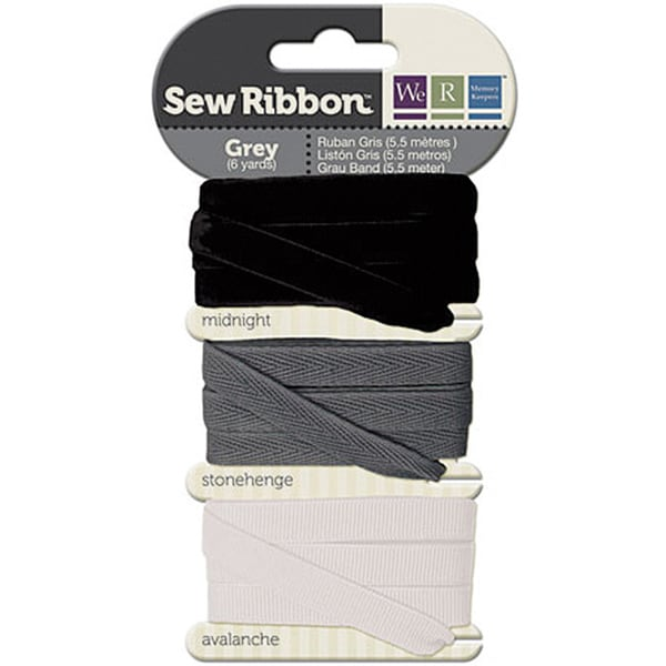 Gray/Black/White Fabric Sewing Ribbon (Pack of Three, Two Yards Each)
