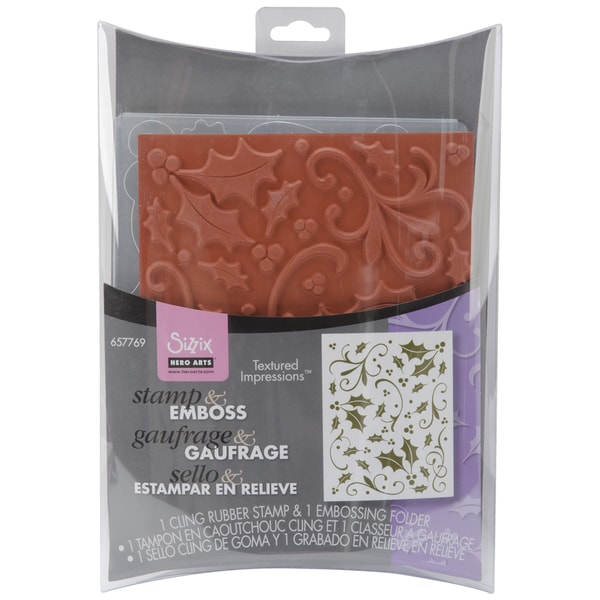 Sizzix Textured Impressions Embossing Folder & Stamp Set-Hero Arts Holly Background