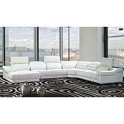 Maxima 4-piece White Leather Sectional Sofa