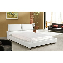 Houston Queen-size White Leatherette Bed