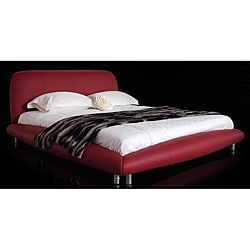 New York Queen-size Red Leatherette Bed