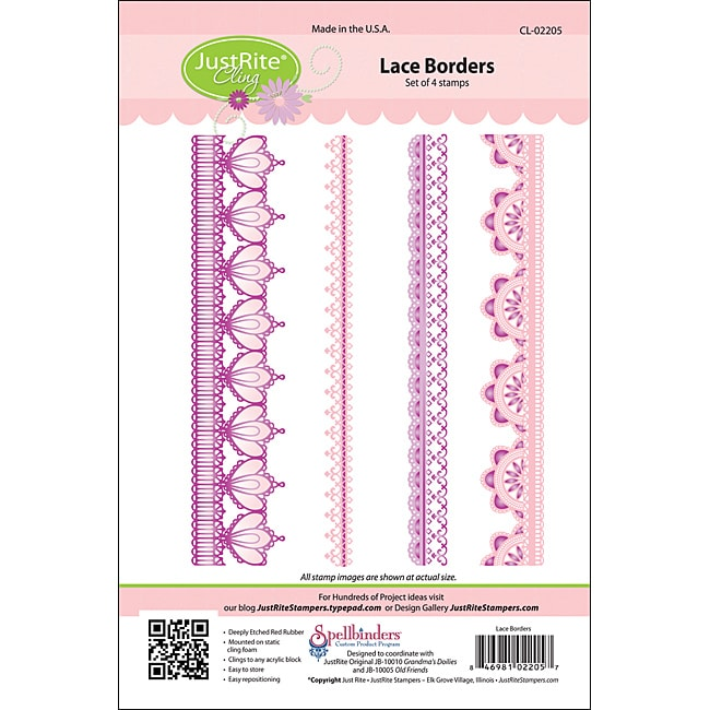 JustRite Stampers Lace Border Cling Stamp (Set of 4)