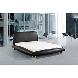 New York Queen-size Black Leather Bed