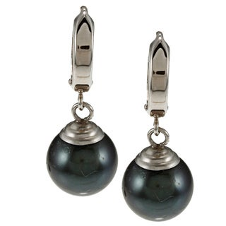 Miadora 10k White Gold Black Tahitian Pearl Dangle Earrings (9-10 mm)