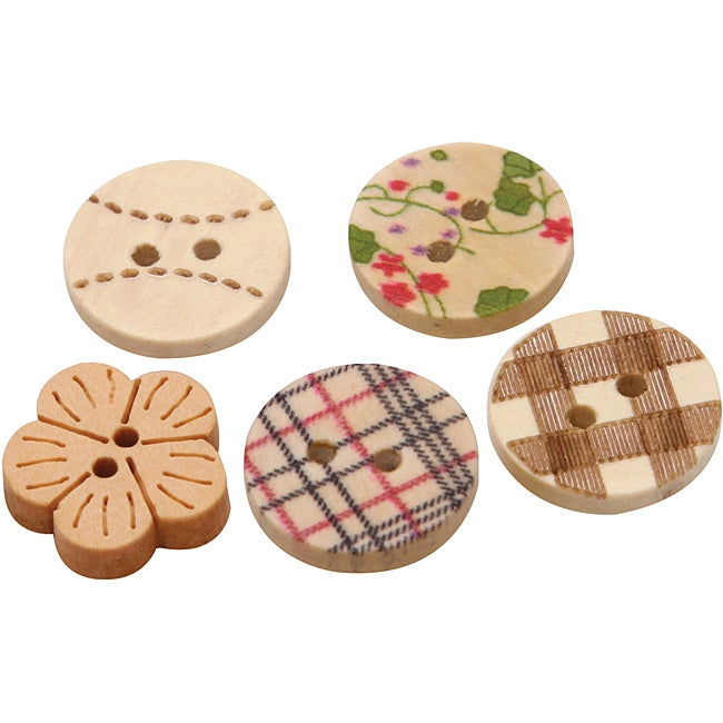 Hand-Painted Wooden Buttons (Pack of 300)