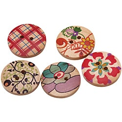 Hand-painted 0.75-inch Wooden Buttons in Five Designs (Case of 150)
