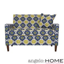 angelo:HOME Sutton Retro Blue-Green Geometric Burst Loveseat