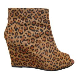 Carrini Women's Leopard Peep-toe Wedges