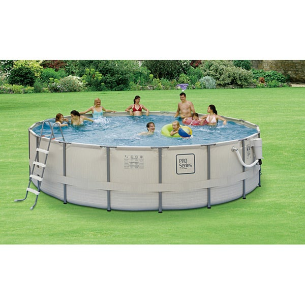 Pro Series 18 Ft Round 52 In Deep Metal Frame Swimming Pool Package Overstock Shopping The