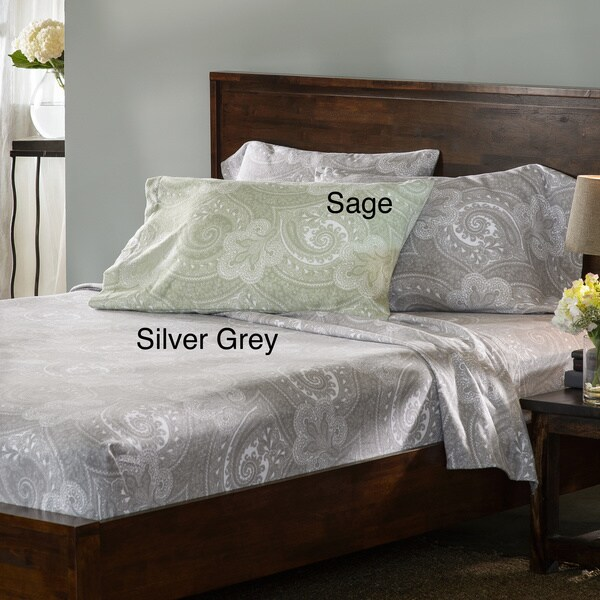 Luxury German Paisley Print Flannel Sheet Sets or Pillowcase Separates