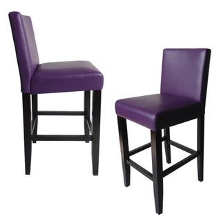 Villa Faux Leather Boysenberry Counter Stools (Set of 2)